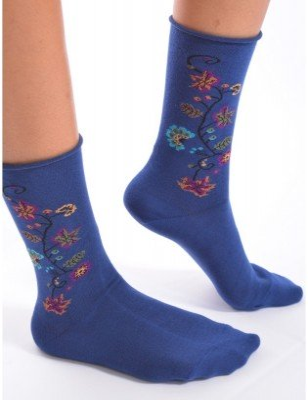 Chaussettes Cronert noires à  fleurs bord roulé