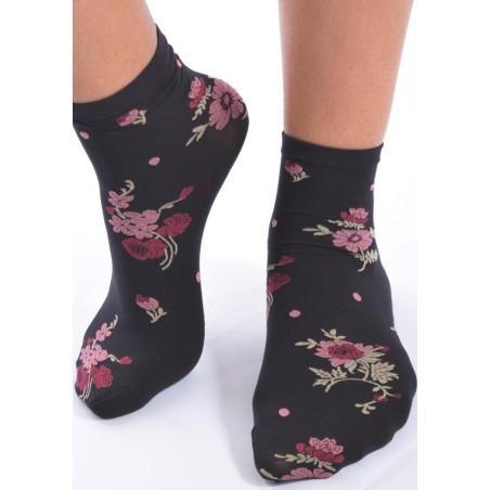 Socquettes Lycra imprimées fleurs chics