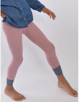 Collant coton sans pieds rose revers lurex Enfant