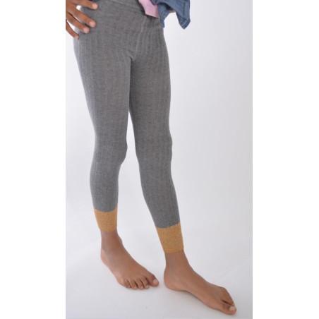 Collant coton sans pieds gris revers lurex Enfant