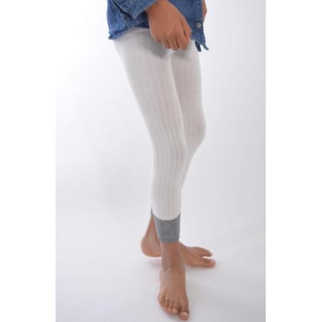 Collant coton sans pieds blanc revers lurex Enfant