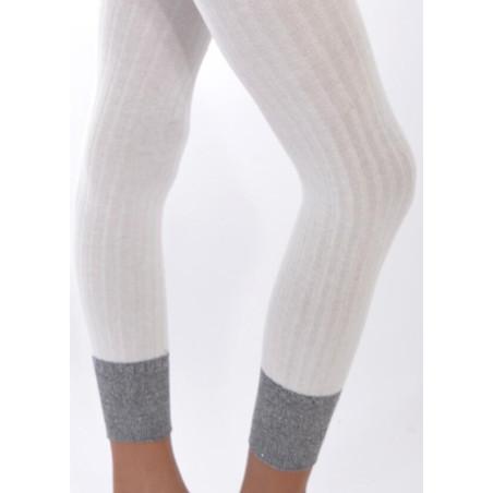 Collant coton sans pieds blanc détail revers lurex Enfant