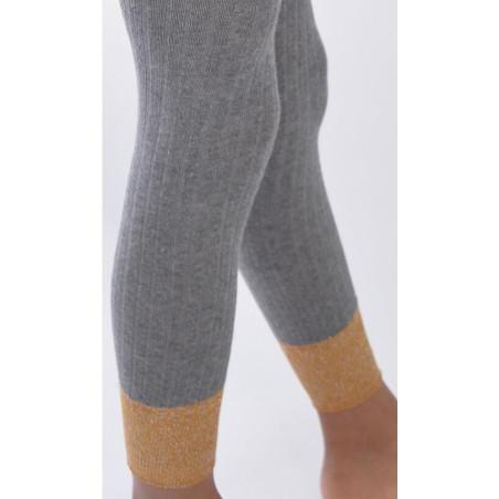 Collant coton sans pieds gris détail revers lurex Enfant