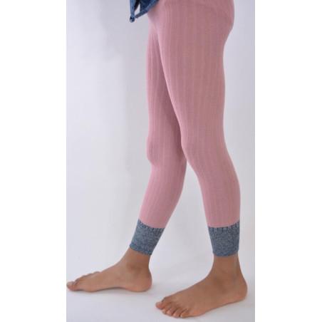 Collant coton sans pieds noir détail revers lurex Enfant