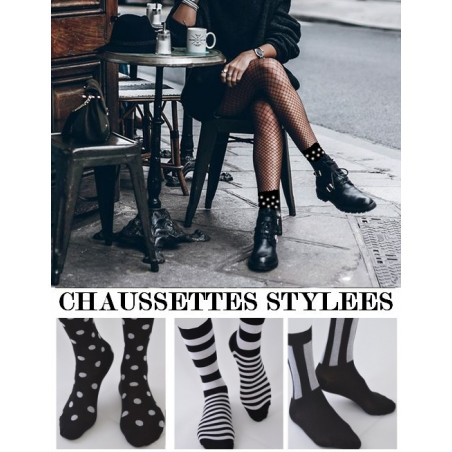 Chaussettes Stylées Noires et blanches