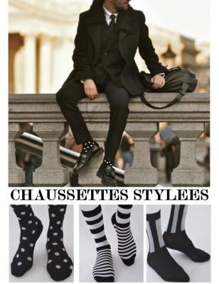 Chaussettes Stylées Noires et blanches pour homme