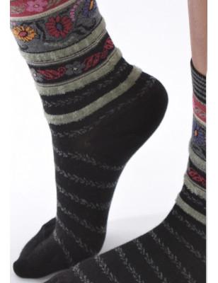 Chaussettes Les petits Caprices Rayées angora noires