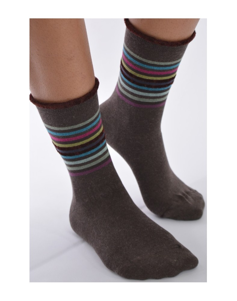 Chaussettes Les petits Caprices  rayures choco