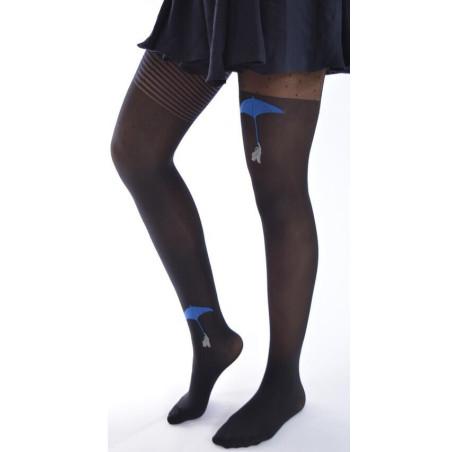 Collant Parapluies bleus asymétriques noir Berthe aux grands pieds