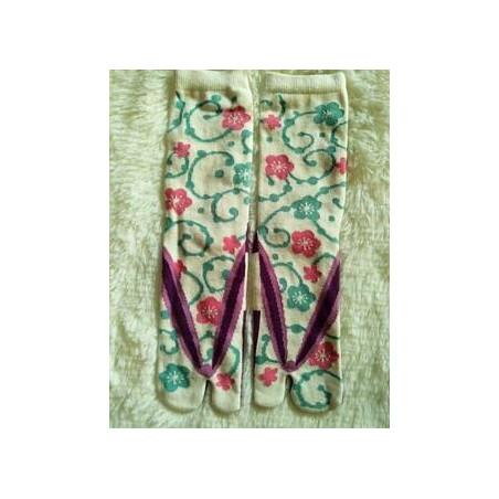 Chaussettes Tabis japonaises blanc fleuri