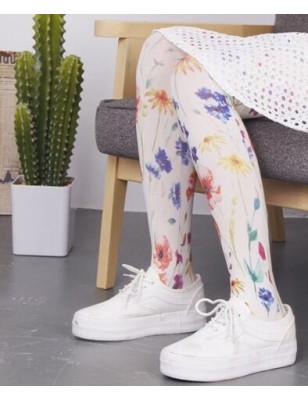 Collant blanc bouquet fleuri imprimé