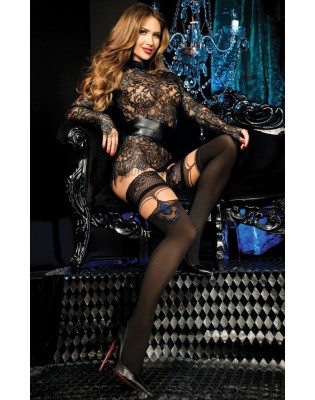 Bas Up effet bas plumes chics bleues Studio collants