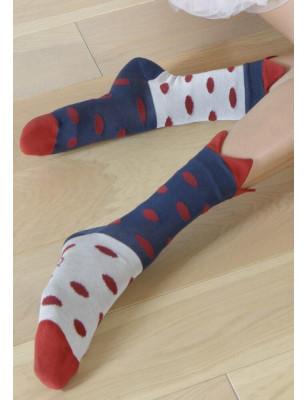 Chaussettes courronnes asymétrique à Pois Berthe aux Grands Pieds
