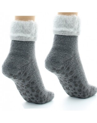 Chaussons chaussettes Perrin Laine gris