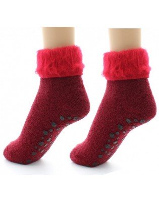 Chaussons chaussettes Perrin Laine rouge