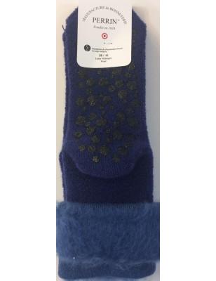 Chaussons chaussettes Perrin Laine bleu roi