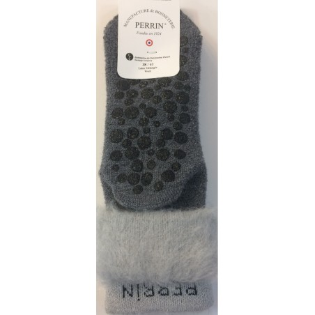 Chaussons chaussettes Perrin Laine gris detail