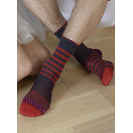Chaussettes Fil Rayures Rouges asymétriques Berthe