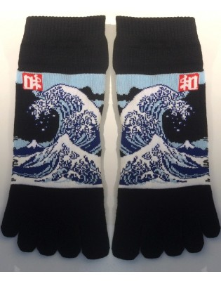five fingers socks art socks Vagues D'Hokusai