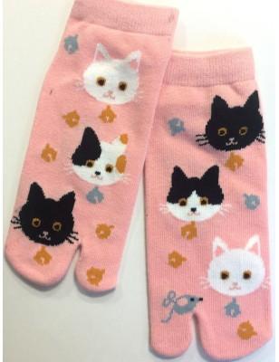Chaussettes Japonaises roses chats noires et blancs