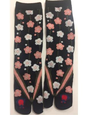 Chaussettes japonaise Tabis noires petites fleurs