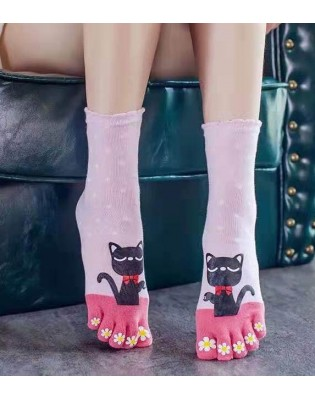 Chaussettes Roses 5 Doigts chats plumetis