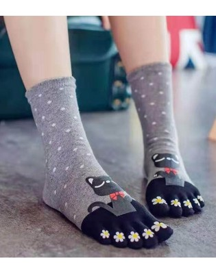 Chaussettes Grises 5 Doigts Chats chics