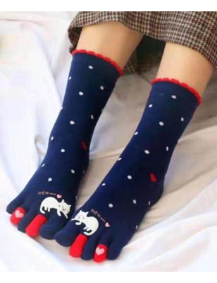 chaussettes 5 doigts chats amoureux