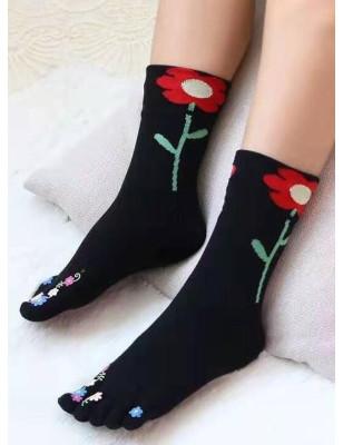 chaussettes noires 5 doigts fleurs exotiques