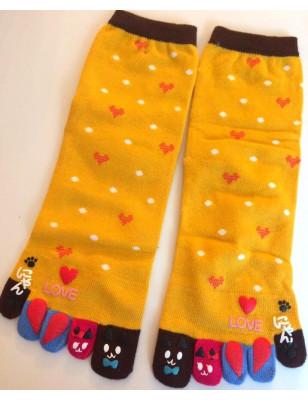 chaussettes jaunes 5 doigts petits Coeurs