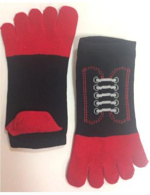 Socquettes noires 5 doigts à lacets détail avant