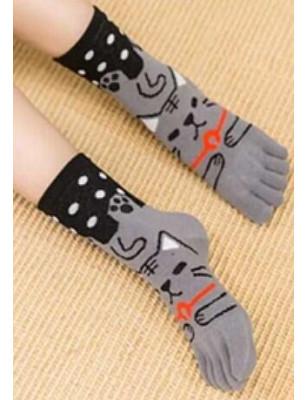 Chaussettes 5 Doigts chat Gris à Pois