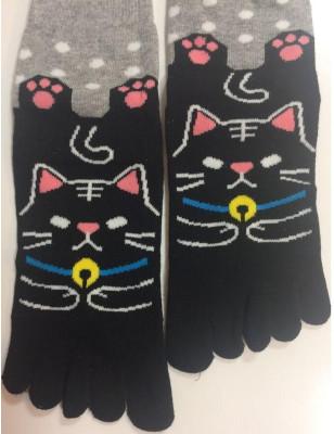 Chaussettes 5 Doigts chat Noir à Pois
