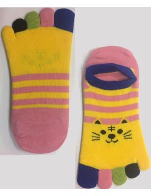 Socquettes 5 doigts chats rayés