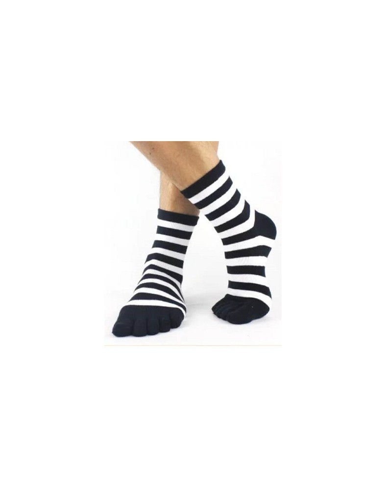 Chaussettes Rayures 5 Doigts Bi colores