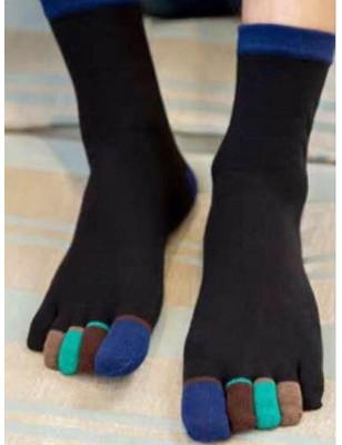 Chaussettes 5 doigts Noires Doigts Couleurs Vertes