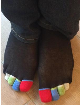 Chaussettes 5 doigts noires Doigts Couleurs