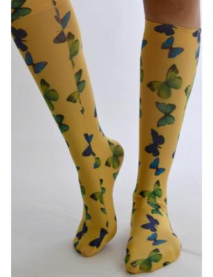 Mi bas jaune Imprimé Papillons Verts bleus