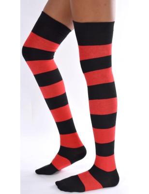 Jambières coton rayures rouges et noires profil
