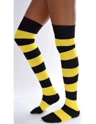 Jambières coton rayures noires et jaunes
