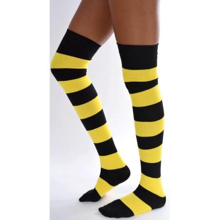 chaussettes hautes coton rayures noires et jaunes