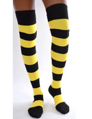 chaussettes longues coton rayures noires et jaunes