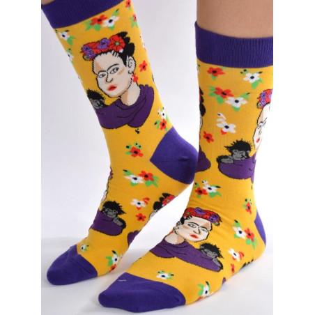 Chaussettes Frida kahlo et le singe