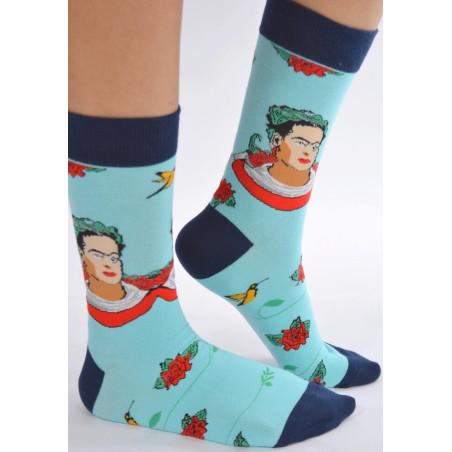 Chaussettes Portrait Frida couronne fleurie