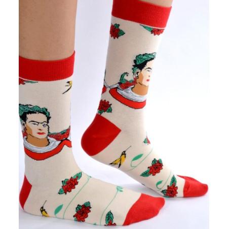 Chaussettes Frida khalo couronnes de fleurs