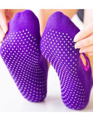 Chaussettes Yoga Ouverte coton bouclette violette