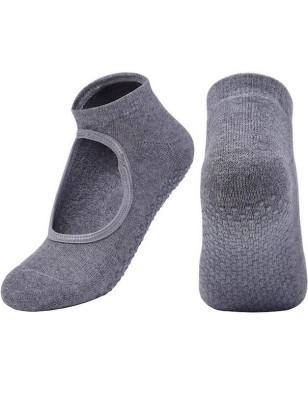 Chaussettes Yoga Ouverte coton bouclette grises