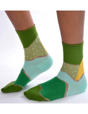 Chaussettes patchwork vert à pois transparents