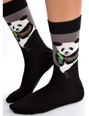 Chaussettes grises pandas