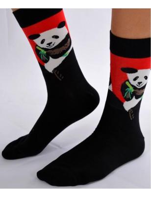 Chaussettes rouges pandas
